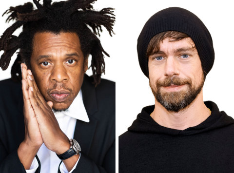 """Photo (from left to right): Shawn """"JAY-Z"""" Carter, Jack Dorsey. Photo credit (from left to right): Raven Varona, Hermione Hodgson."""