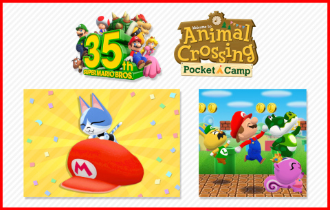 Calling all campers, the Animal Crossing: Pocket Camp game for smart devices is also enjoying its own lineup of Mario magic this month with a Super Mario Bros. 35th Anniversary crossover event. (Graphic: Business Wire)