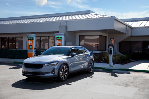 The Polestar 2 charging at a Level 2 ChargePoint station at ChargePoint's headquarters in Campbell, California.