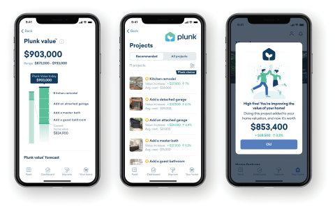 The Plunk app makes it easy for homeowners to see which renovation projects will improve the value of their home. (Graphic: Business Wire)
