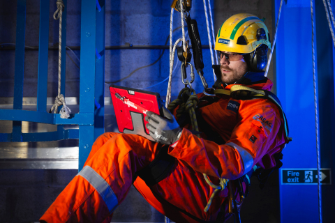 A Stork professional performs an offshore inspection in the North Sea. (Photo: Business Wire)