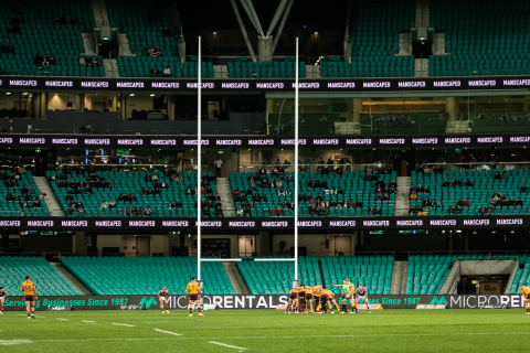 The Roosters' home turf, Sydney Cricket Ground, is located on the doorstep of Australia's most vibrant harbor city and central business district. MANSCAPED's tri-level logo representation adds a little added flair.(Photo: Business Wire)