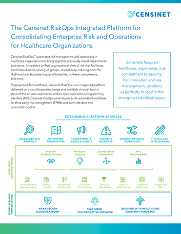 Censinet RiskOps™ automates risk management and operations in healthcare organizations to bring together previously siloed departments and teams. It creates a unified organizational view of risk that facilitates coordinated action among all groups, dramatically reducing both the likelihood and business impact of breaches, malware, ransomware, and more. Purpose-built for healthcare, Censinet RiskOps is an integrated platform delivered on a cloud-based exchange and available through both a state-of-the-art user experience and an open application programming interface (API). Censinet RiskOps extends pre-built, automated workflows for third-party risk management (TPRM) and turns risk data into actionable insights.