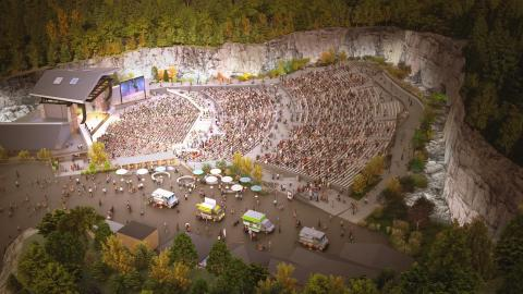Rendering of the new FirstBank Amphitheater. The 7,500-capacity venue is set to open in Thompson's Station in 2021. (Photo: Business Wire)