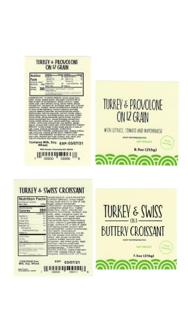 Images are of the labels of the recalled pre-packaged turkey sandwiches sold between March 3-5, 2021 at the Charlotte Douglas Airport and via vending machines and micro markets located in Georgia, North Carolina, South Carolina, and West Virginia. (Graphic: Business Wire)