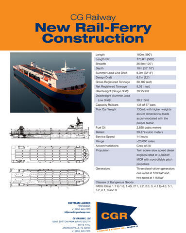 CG Railway (CGR) today announced the launch of the first of two new rail ferries.