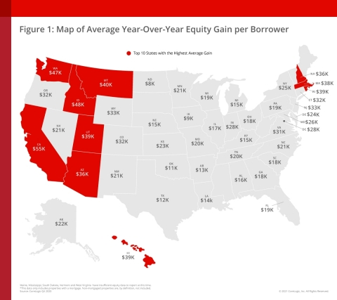 CoreLogic Map of Average Year-over-Year Equity Gain per Borrower (Graphic: Business Wire)