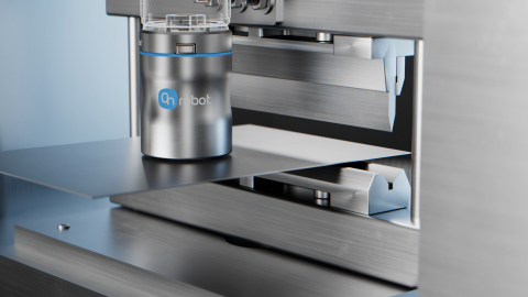 Unlike standard magnetic grippers, OnRobot's innovative MG10 gripper comes with built-in grip and sensors for part detection. (Photo: Business Wire)