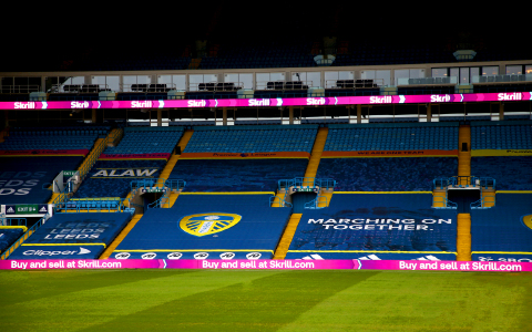 Skrill branding at Leeds United's Elland Road stadium as part of the payments brand's new partnership with the Premier League football club. Skrill will work closely with Leeds United on a range of exclusive content campaigns, providing fans with additional entertainment and access to players. Skrill will also become a live payments option on the Leeds United online merchandise store and ticketing portal. (Photo: Business Wire)