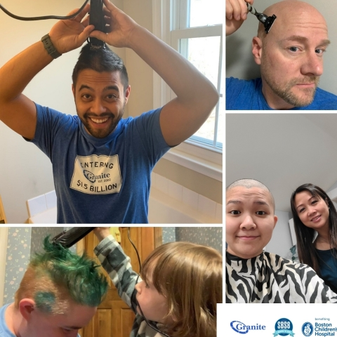 Granite teammates shave their heads or cut 8 inches of hair to raise funds for Boston Children's Hospital.  (Photo: Business Wire)