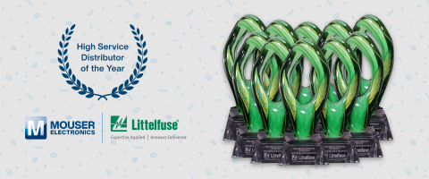 Mouser Electronics has been named the 2020 Global High Service Distributor of the Year by Littelfuse — the 10th time that Mouser has been honored with the top award. (Photo: Business Wire)
