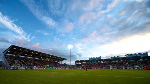 Tallaght Stadium in South Dublin is home to the Rovers and quite a stage for an amazing season ahead, as well as MANSCAPED's iconic logo and other co-branded integrations. (Photo: Business Wire)
