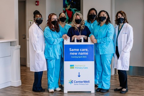 Staff of the CenterWell Senior Primary Care center in Spartanburg, South Carolina, wearing new, CenterWell-branded clothing and masks. (Photo: Business Wire)