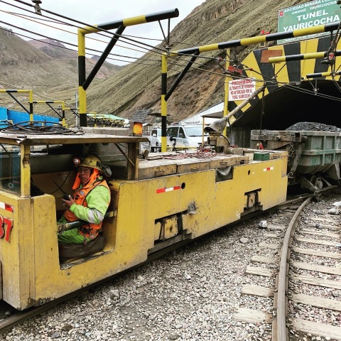 Train emerging from Yauricocha Tunnel loaded with ore (Photo: Business Wire)