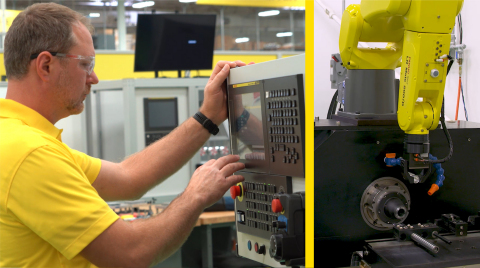 FANUC CNCs now have the ability to control connected FANUC robots providing machine tending or other assistance. (Photo: Business Wire)
