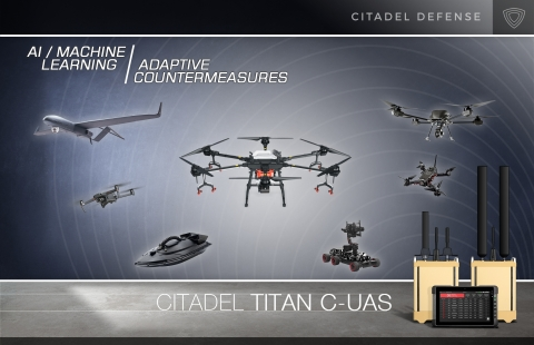 Citadel Defense uses industry leading artificial intelligence and machine learning to reliably detect, identify, and defeat air, land, and sea unmanned systems. Titan requires no signal expertise or training to operate and can be deployed in less than five minutes. (Graphic: Business Wire)