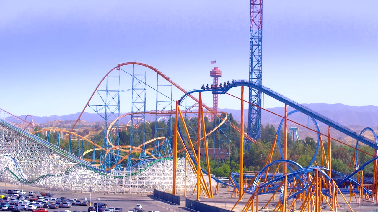 Six Flags Magic Mountain - park reopening b-roll