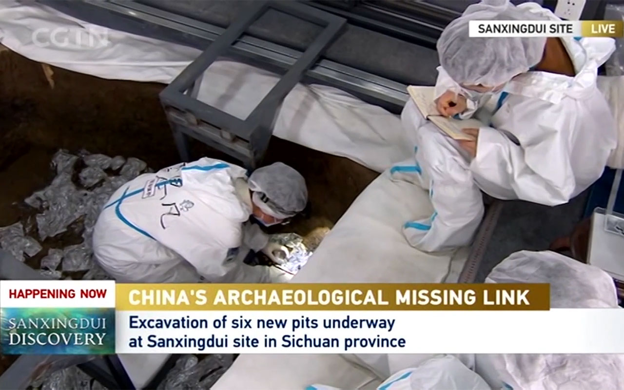 Gold foil pieces extracted from Pit 5 at the Sanxingdui Ruins site