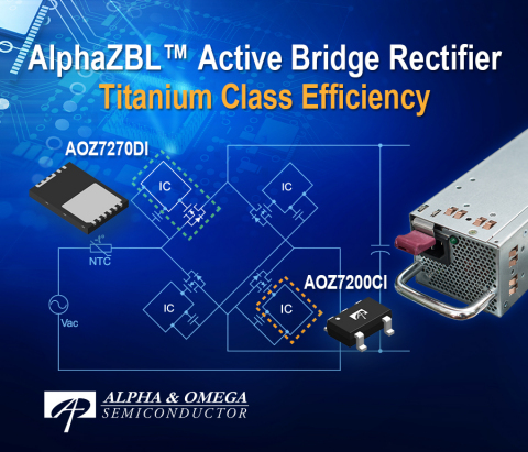 AOZ7200 and AOZ7270 Enable Efficiency and Thermal Enhancement in High Power Adaptors and Titanium Level Efficiency in AC-DC Power Supplies (Graphic: Business Wire)