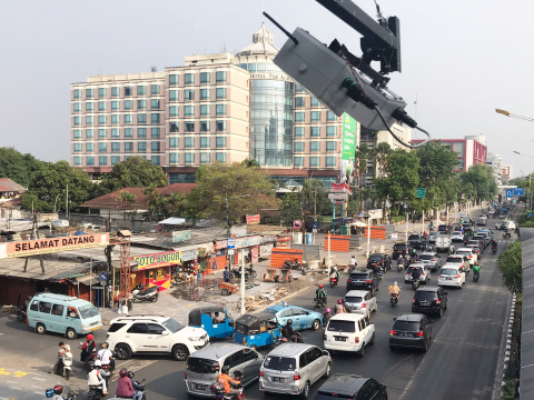 Sensor unit measuring road status in Indonesia (Photo: Business Wire)