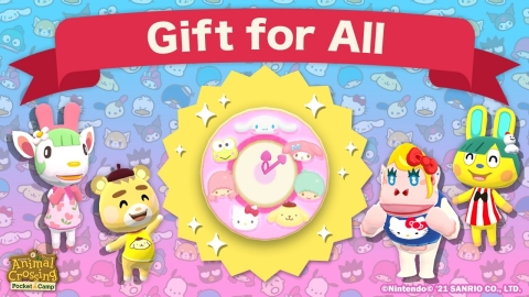 From March 25 at 11 p.m. PT to May 9 at 10:59 p.m. PT, all players who log in to Animal Crossing: Pocket Camp during the Sanrio Characters Collection 2021 in-game event can receive a free Sanrio Characters clock in-game item by tapping the gift icon. (Graphic: Business Wire)
