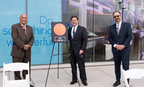 From left: Dr. Randhir Thakur, president of Intel Foundry Services, Arizona Gov. Doug Ducey, and Keyvan Esfarjani, Intel senior vice president in Manufacturing & Operations, celebrate Intel's $20 billion investment for two new factories on the company's Ocotillo campus in Chandler, Arizona. On March 23, 2021, the company announced the investment and said it expects to begin planning and construction activities this year. (Credit: Intel Corporation)