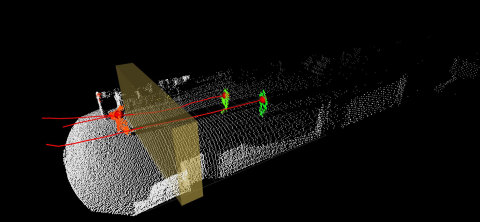 Point cloud recorded with Blickfeld Cube 1 at Frankfurt Airport, yellow barrier marks counting zone (Photo: Business Wire)