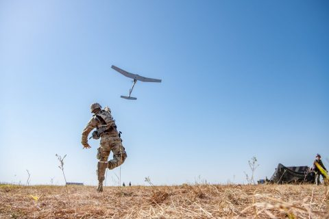 A U.S. Army Soldier hand launches a Raven B UAS in order to have a birds-eye view of the area during a field training exercise at Fort Sill, OK. (Photo: U.S. Army photo by Sgt. Dustin D. Biven)