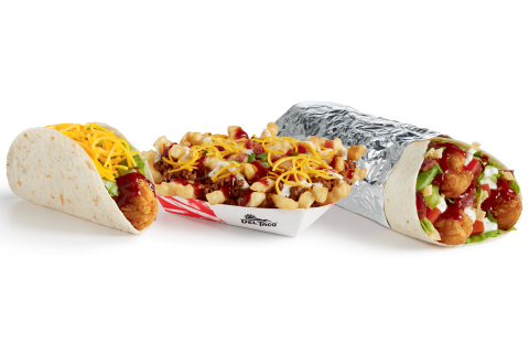 Del Taco's new Honey Chipotle BBQ Crispy Chicken Taco, Honey Chipotle BBQ Bacon Ranch Loaded Fries and Epic Honey Chipotle BBQ Crispy Chicken & Bacon Burrito (Photo: Business Wire)