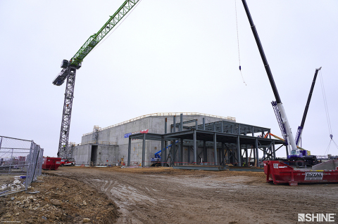 The SHINE medical isotope production facility as seen from ground level on March 17, 2021. (Photo: SHINE Medical Technologies)
