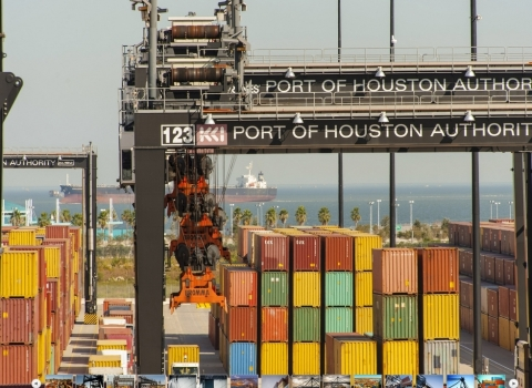 Container yard activity at Port Houston's Bayport Container Terminal. (Photo: Business Wire)