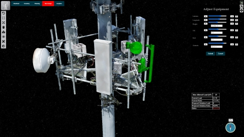 通过将实景模型与数字工程模型相结合,创建电信塔的可视化表示。  (Photo: Business Wire)