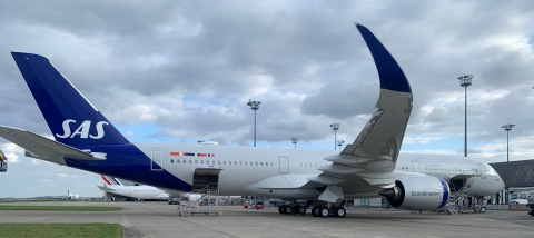 SAS took delivery of a new A350-900 on lease from CDB Aviation on Friday, March 26, 2021 in Toulouse, France. (Photo: Business Wire)