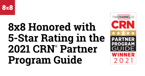 8x8 Awarded 5-Star Rating in the 2021 CRN Partner Program Guide (Graphic: Business Wire)