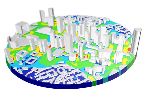 A pedestrian wind comfort simulation of an urban city center using the SimScale platform on a web-browser (Photo: Business Wire)