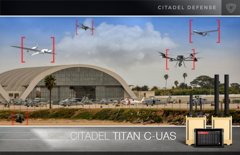 Citadel Defense uses artificial intelligence, machine learning, and adaptive frequency jamming to provide dependable and reliable force protection against air, land, and sea threats. Titan is easy to use and requires no signal expertise or expensive training to operate. (Graphic: Business Wire)