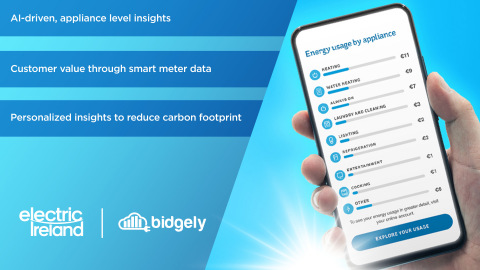Bidgely and Electric Ireland introduced an AI-powered customer engagement solution using smart meter data aimed at helping customers more effectively manage their energy usage and carbon footprints. (Graphic: Business Wire)