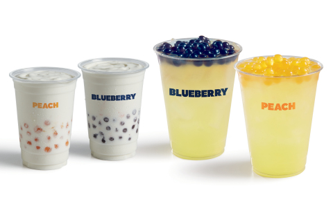 Del Taco Poppers drinks are back for a limited time with Blueberry and Peach popping boba in lemonade or mini shakes. (Photo: Business Wire)