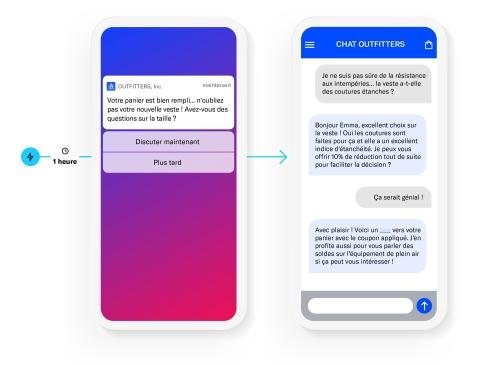 Airship Live Chat permet aux marketeurs de déclencher en temps réel des invitations à discuter dans l'application ou par SMS, créant ainsi des parcours clients automatisés qui améliorent les conversions et la satisfaction client. (Graphic: Business Wire)