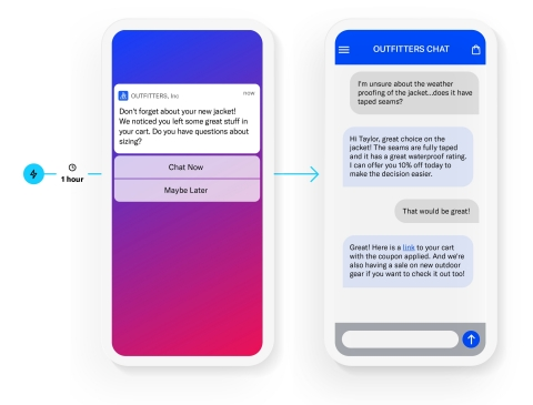 Airship Live Chat enables marketers to proactively trigger real-time, personalized invitations to chat within the app or over SMS, building automated customer journeys that increase conversions and customer satisfaction. (Graphic: Business Wire)