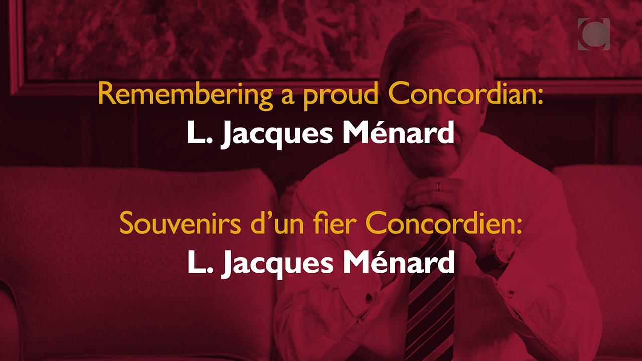 BMO Groupe financier investit dans la Campagne pour Concordia pour rendre hommage à l'extraordinaire contribution du regretté chancelier de l'université,  L. Jacques Ménard.