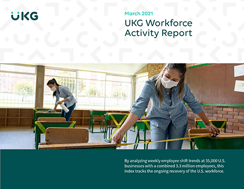 UKG's high frequency shift work index showed very strong growth in early March that declined in the second half of the month for negative overall growth in the month.