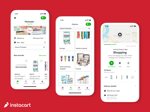 Screenshot of the Michaels store front that customers will see on the Instacart Marketplace. This was included in the  announcement that Michaels is partnering with Instacart in Dallas, Chicago and Washington D.C. (Graphic: Business Wire)