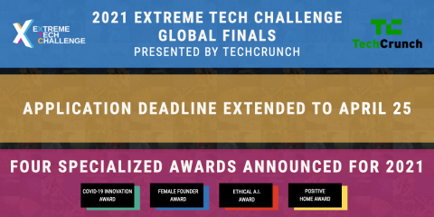 Extreme Tech Challenge Partners with TechCrunch, Extends Application Deadline, and Announces Four Specialized Awards for its 2021 Global Competition (Graphic: Business Wire)