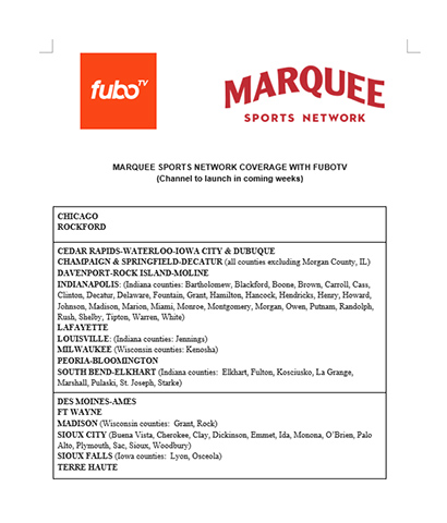 Marquee Sports Network Coverage with fuboTV