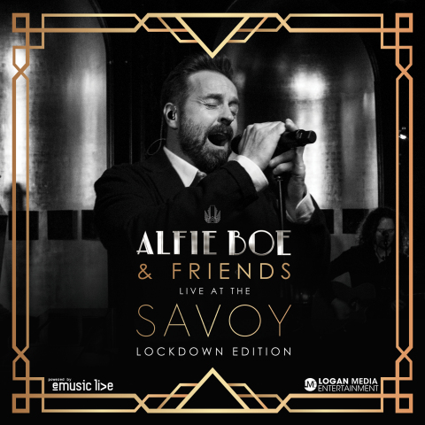 Alfie Boe & Friends Live At The Savoy 'Lockdown Edition' will be shot at The Savoy in London and livestreamed on eMusic Live on 10th April at 19:30 BST. (Graphic: Business Wire)