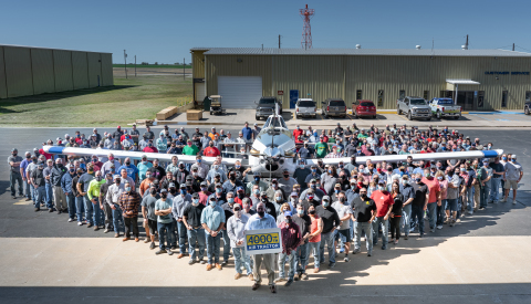 Employee-owners at aircraft manufacturer Air Tractor, Inc. celebrate delivery of their 4,000th airplane. (Photo: Business Wire)
