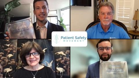 患者安全運動財団CEOのデビッド・B・メイヤー(右上)とヘレン・ハスケル氏(左下)がニコラス・スターク氏(左上)とオスカー・サン・ロマン・オロスコ氏(右下)に創設初年度の「ルイス・ブラックマン・リーダーシップ賞」を授賞。(写真:ビジネスワイヤ)