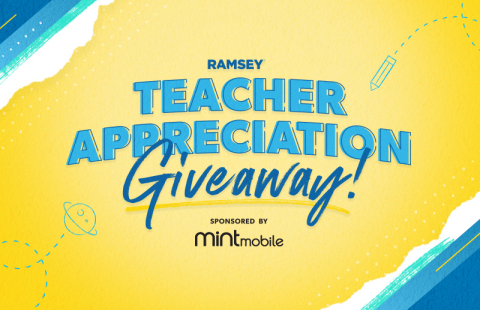 To honor the hard work of teachers, Ramsey Solutions is launching a Teacher Appreciation Giveaway during National Financial Literacy Month in April. (Graphic: Business Wire)