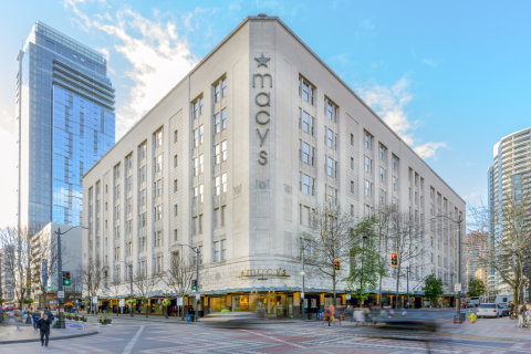 Seattle-based commercial real estate firm Urban Renaissance Group LLC (URG) and KKR, a leading global investment firm, today announced the acquisition of the 300 Pine St building in downtown Seattle. Located on a full city block between 3rd Ave and 4th Ave in the heart of Seattle's retail core, the 770,000 sq. ft., eight-story mixed-use iconic building with its historic façade will feature 85,000 sq. ft. renovated ground-floor retail designed to accommodate retail flagship stores, along with a new stunning 4th Avenue entrance to access the 682,000 sq. ft. of commercial office space currently fully-leased to a single tenant. The office portion will feature 80,000 sq. ft. floorplates, seismic retrofitting, and over twenty skylights including two light wells providing additional light for the top two floors. (Photo: Business Wire)
